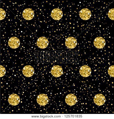 Sparkle Circles Seamless Pattern Background. Golden Glitter Texture.