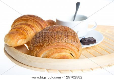 French Viennoiserie Croissant Pain Au Chocolat For Breakfast.