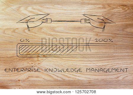Graduation Caps Connected By Plug, Enterprise Knowledge Management