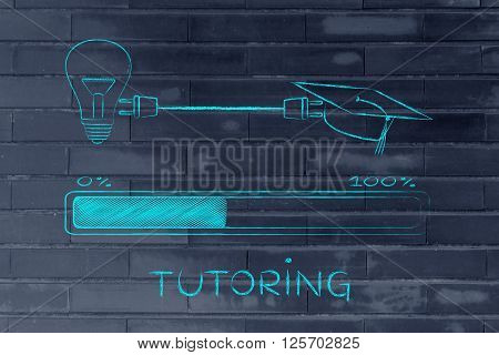 Graduation Caps & Lightbulb Connected By Plug, Tutoring
