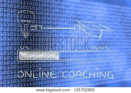 Graduation Caps & Lightbulb Connected By Plug, Online Coaching