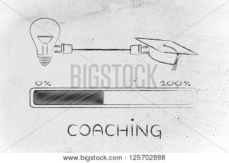 Graduation Caps & Lightbulb Connected By Plug, Coaching