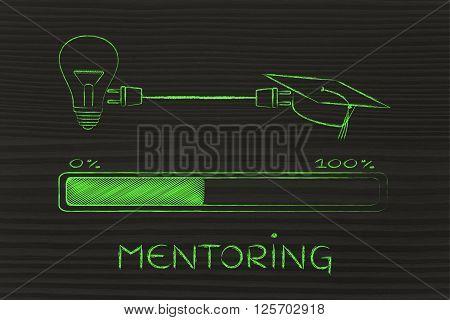 Graduation Caps & Lightbulb Connected By Plug, Mentoring