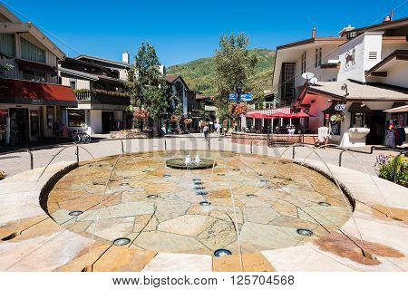 Vail, USA - September 10, 2015: Fountain at a square on Bridge Street in Vail, Colorado