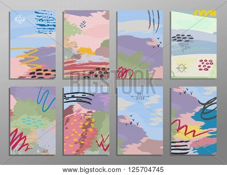 Set of abstract hand draw creative universal cards. Design for paty poster wedding card background invitation birthday placard brochure flyer. Vector. Isolated