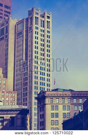 Retro Vintage Style Photo Of The Historic Buildings Of Downtown Boston Massachusetts