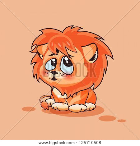 Vector Stock Illustration isolated Emoji character cartoon Lion cub embarrassed, shy and blushes sticker emoticon for site, infographics, video, animation, websites, e-mail, newsletter, report, comic