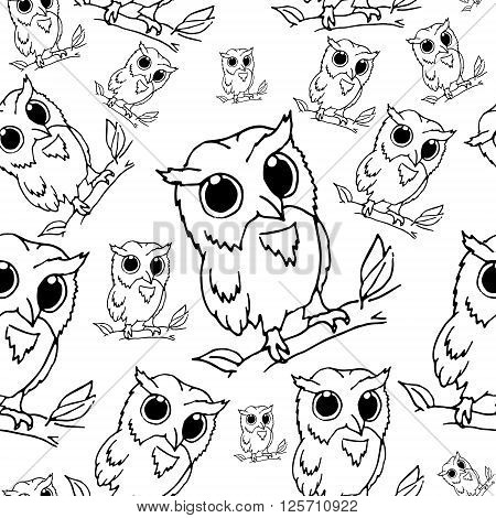Owls vector stock illustration. Hand drawn background seamless pattern