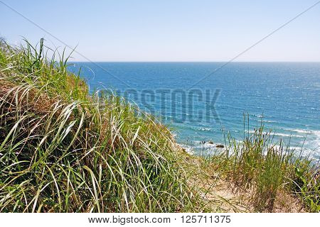 View of the Mohegan Bluffs section of Block Island located in the state of Rhode Island USA.