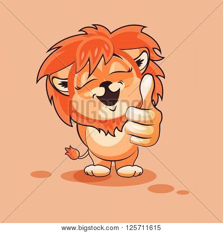 Vector Stock Illustration isolated Emoji character cartoon Lion cub approves with thumb up sticker emoticon for site, infographics, video, animation, websites, e-mails, newsletters, reports, comics