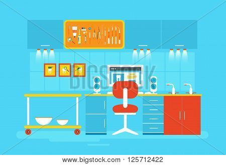 Stock vector illustration set of dental office with office of dentist, dental equipment in flat style element for infographic, website, icon, games, motion design, video