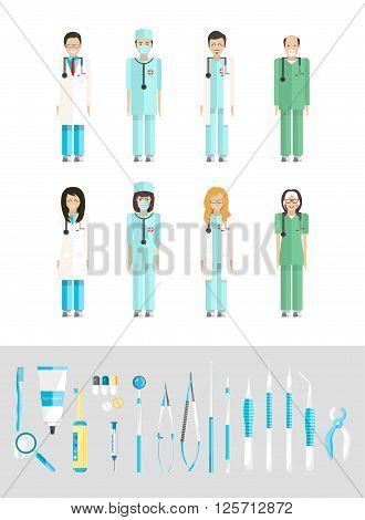 Stock vector illustration set of dental office with medical staff, dental equipment in flat style element for infographic, website, icon, games, motion design, video