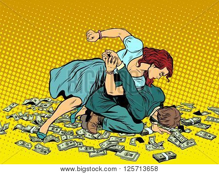 Woman beats man in fight for the money pop art retro style. Woman hits a man. Self defence women. Competition. The war of the sexes