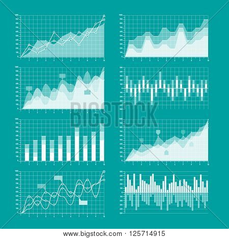 Business charts and graphs infographic elements vector illustration