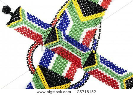Close Up Of Zulu Beads In The Colors Of The South African Flag