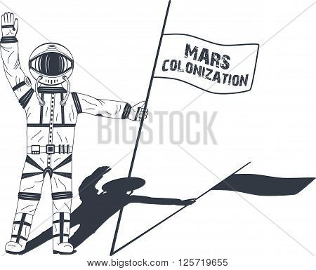Mars colonization. Astronaut on the planet. Colour poster, vector illustration