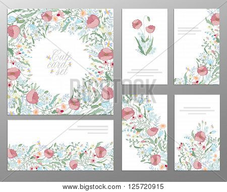 Set of hand draw floral card. Wedding invitation thank you card save the date card buisiness card. Wedding set.