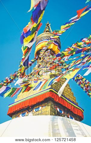 Tibetan flags in Boudhanath Stupa in Nepal ** Note: Visible grain at 100%, best at smaller sizes
