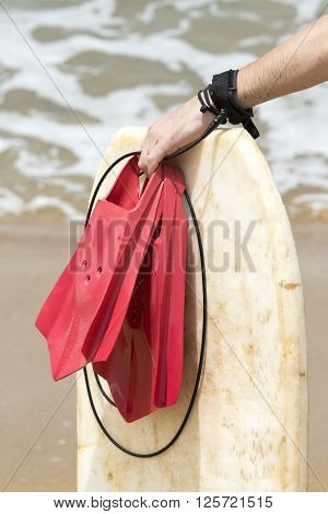 Causasian man just finished surfing on the waves Sea beach san