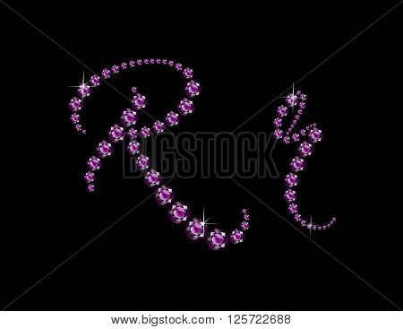 Rr in stunning Amethyst Script precious round jewels isolated on black.