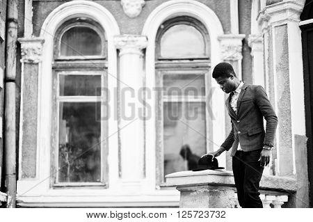 Fashion Portrait Of Black African American Man On Green Velvet Jacket Stay On Stairs And Wear His Bl