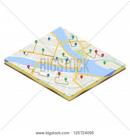 A isometric citymap of an imaginary city with destinations between districts. Urban mobile navigation vector illustration. City plan geomarketing consept.