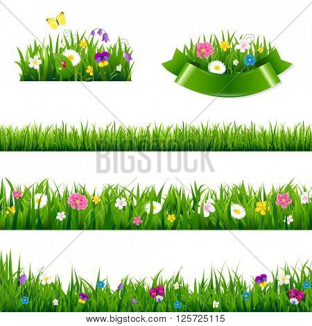 Flowers Borders Big Set With Gradient Mesh, Vector Illustration