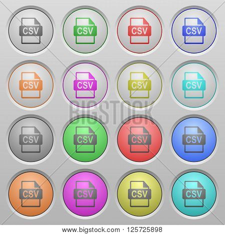 Set of CSV file format plastic sunk spherical buttons.