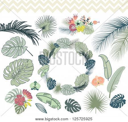 Wedding graphic set with palm leaves, monstera foliage, wreath and tropical excotic flowers