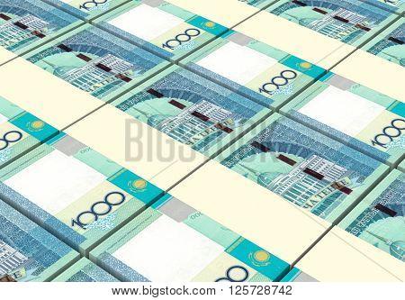 Kazakhstan tenge bills stacks background. 3D illustration.