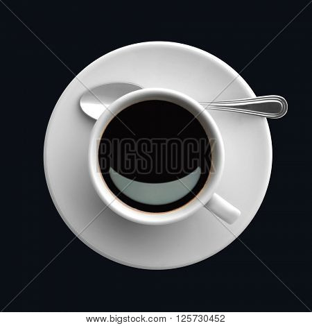 coffee cup, view from above, black background