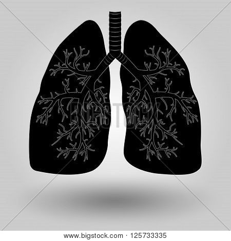 Silhouette of a human lung medicine clinic symbol design lung cancer diagnostics center emblem vector