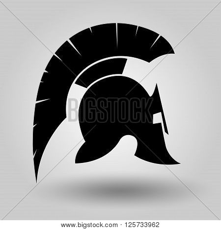 Spartan Helmet silhouette symbol of gladiator soldier or greek warrior or roman legionary helmet hero sign vector