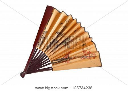 Fan with floral Japanese pattern. Half-opened, in the middle of composition.  Isolated on white. View from top.