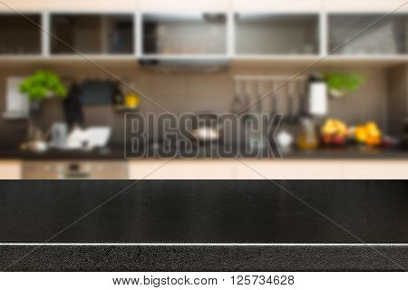 Interior of kitchen and desk space - stock image.