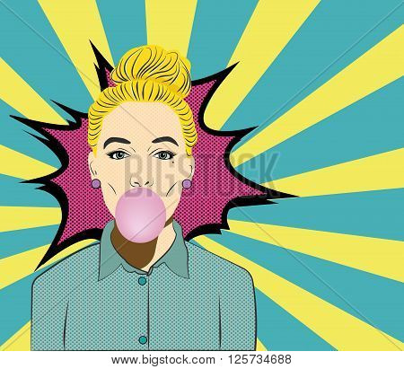 Pop Art Woman with Gum vector illustration. Chew gum. On blue and yellow background.