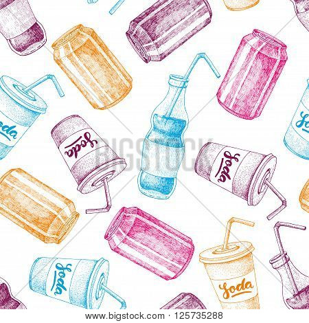 Vector seamless soda drawing pattern. Hand drawn soda illustrations. Vintage drink sketch. Great for restaurant or cafe drink menu.