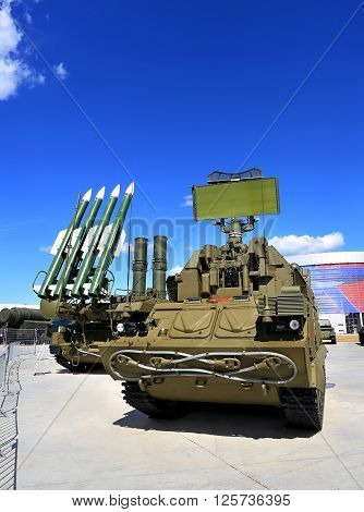 MOSCOW REGION  -   JUNE 17: Mobile starting platforms with anti-aircraft medium-range missiles and radars  -  on June 17, 2015 in Moscow region