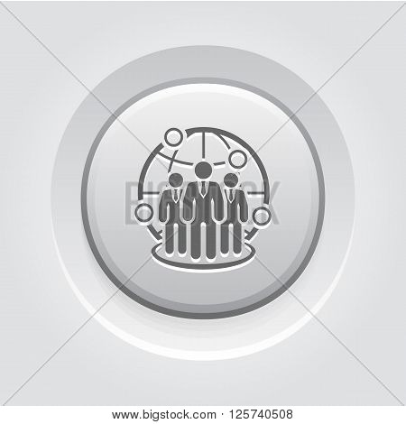Global Business Icon Concept. Grey Button Design