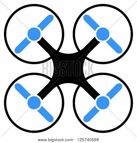 Flying Multicopter Gray And Blue Vector Icon