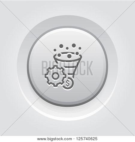 Conversion Rate Optimisation Icon. Business Concept. Grey Button Design