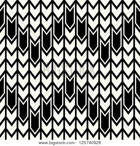Abstract Monochrome Modern Geometrical Background With Structure Of Repeating Arrows - Vector Seamle