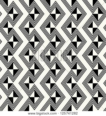 Ancient Traditional African Fabric Texture With Repeating Monochrome Rhombuses And Outlined Geometri
