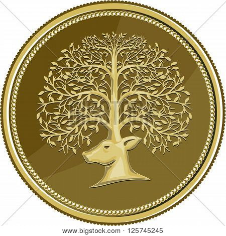 Illustration of a deer head viewed from the side with antler made of trees branches and leaves set inside gold coin medallion done in retro style.