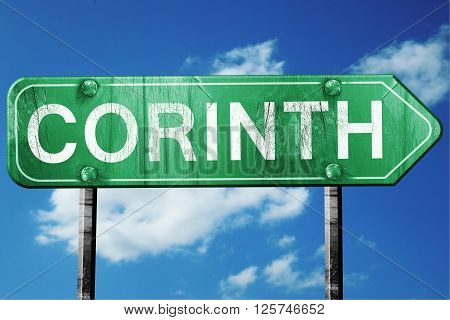 corinth road sign on a blue sky background