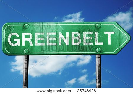 greenbelt road sign on a blue sky background