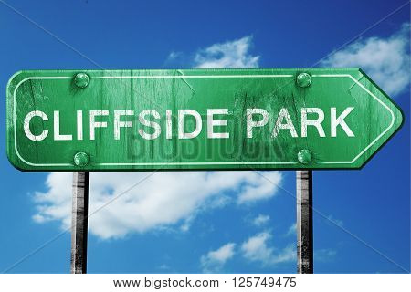 cliffside park road sign on a blue sky background