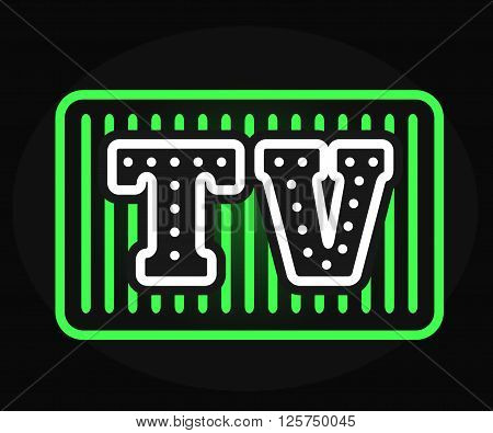 Light bulb vector neon TV show logo with creative retro effect letters. Show logo design template and studio movie show logo. Neon lighting show logo art entertainment. Retro business abstract cinema.
