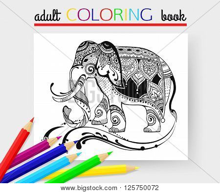 Adult Coloring Page with elephant. Elephant vector. Elephant hand-drawn. Elephant design. Elephant isolated. Elephant indian. Elephant african. Elephant tattoo. Elephant cartoon. Elephant template.