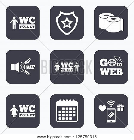 Mobile payments, wifi and calendar icons. Toilet paper icons. Gents and ladies room signs. Man and woman symbols. Go to web symbol.